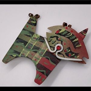 copper painting brooch